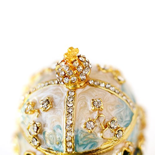 Apropos Hand-Painted Vintage Style Faberge Egg with Rich Enamel and Sparkling Rhinestones Jewelry Trinket Box (S. White Cross) by Apropos (Image #4)'