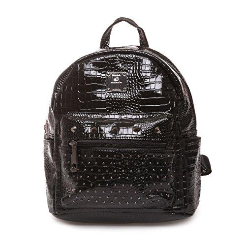 The fashion bags - Bolso mochila  de Charol para mujer negro