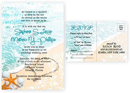 Theme Invitation Cards (Beach Starfish Seashell Wedding Invitations & Response Cards Bridal Custom)