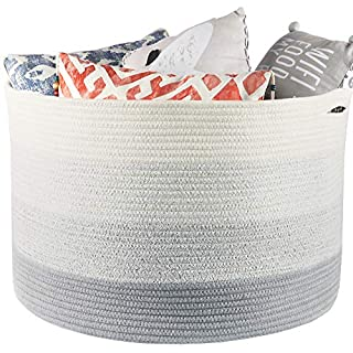"Muchuni Extra Large Basket for Blankets 22"" x 14"". Storage Hamper for Blankets, Pillows, Toys or Laundry. Living Room Blanket Basket."