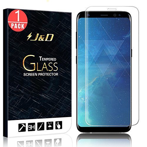 Galaxy S8 Screen Protector Glass, J&D [3D Full Coverage] [Edge to Edge] Curved Tempered Glass Screen Protector for Samsung Galaxy S8 – 1 Pack