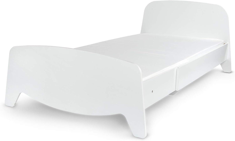Leomark Cama con regulación del Largo - Sophia - el Estilo escandinavo, Moderno Dormitorio para Niños, 3 ajustes de Longitud, Espacio para Dormir: ...