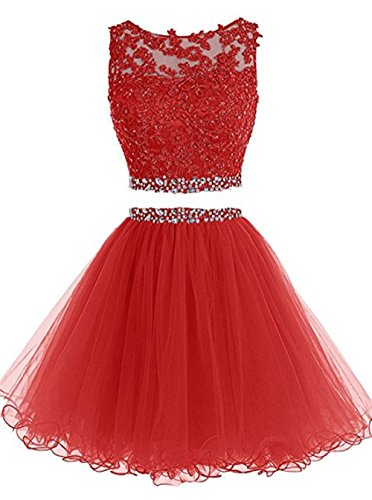 Fashion Beading Appliqued Prom Party Dress Keyhole Back Graduation Dresses For 8th Grade Red,US8