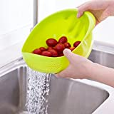 Rice Washing Bowl with Side Drainers,Green (L)