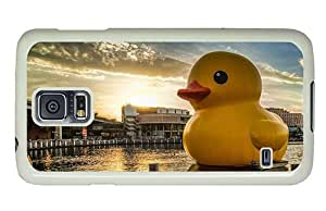 Hipster cool Samsung Galaxy S5 Cases rubber duck city PC White for Samsung S5