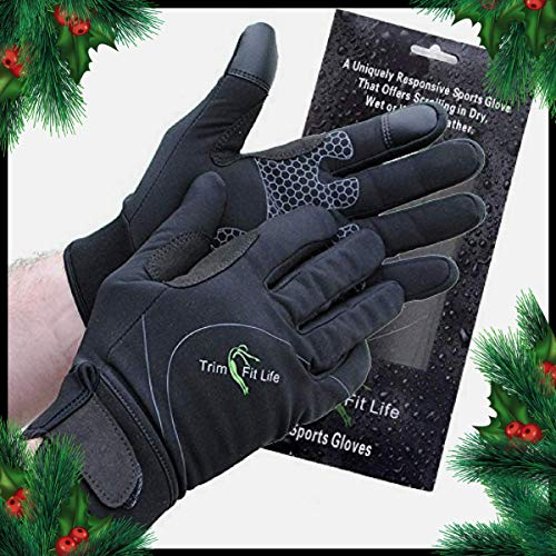 Windproof, Breathable Workout Gloves For Men And Women. Perfect For Running, Gym, Cycling And Biking. Work Brilliant As Hiking Gloves. Black, Water Resistant Neoprene,Touch Screen Function. ()