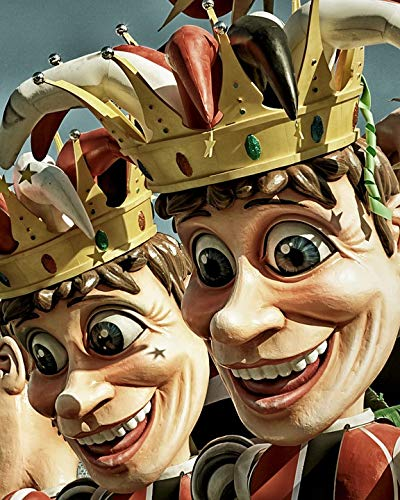 Home Comforts Peel-n-Stick Poster of Jesters Costume Parade Characters Masks Vivid Imagery Poster 24 x 16 Adhesive Sticker Poster Print