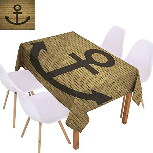 Marilec Restaurant Tablecloth Anchor Digital Anchor Icon Over Brick Wall Vintage Vessel Part Hook Up The Boat Theme Picnic W60 xL102 Tortilla Brown Great for Buffet Table