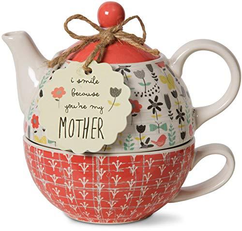 Pavilion Gift Company 74068 Bloom Mother Ceramic Tea for One, 15 oz, Multicolor