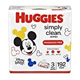 Huggies Simply Clean Fragrance-free Baby Wipes, Soft Pack 3 Pack, 192 Count