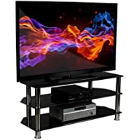 Mount-It! Glass TV Stand For Flat Screen Televisions Fits 40 42 46 47 50 55 60 Inch LCD LED OLED 4K TVs, Three Tempered Glass Shelves, Black