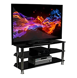 mount it glass tv stand for flat screen televisions fits 40 42 46 47 50 55 60 inch. Black Bedroom Furniture Sets. Home Design Ideas
