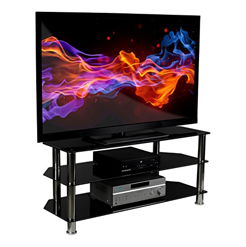 (Mount-It! Glass TV Stand for Flat Screen Televisions Fits 40 42 46 47 50 55 60 Inch LCD LED OLED 4K TVs, Three Tempered Glass Shelves, Black)