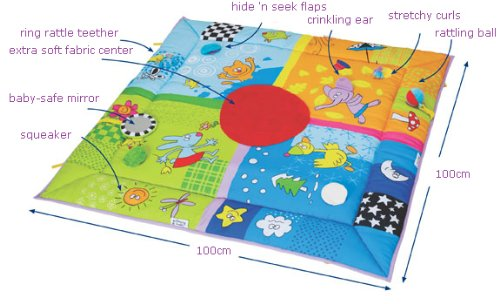 Taf Toys 4 Seasons Baby Activity Mat Suitable from Birth, for Easier Development and Easier Parenting, Large Size, Soft, Cosy Safe Fabric, Seasonal Vibrant Colored Base Panel, Safety Mirror, Toys