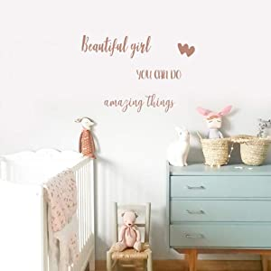 IARTTOP Beautiful Girl You Can Do Amazing Things Lettering Wall Art Decal, Inspirational Quote Motivational Saying Gift Sticker Wall Decor, Brown Gold