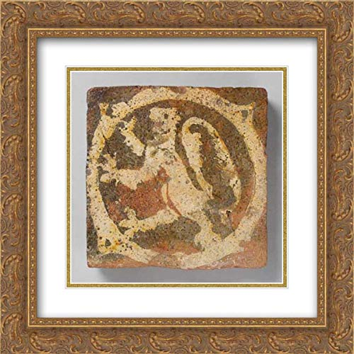 British Culture - 20x20 Gold Ornate Frame and Double Matted Museum Art Print - Tile with Rampant Lion