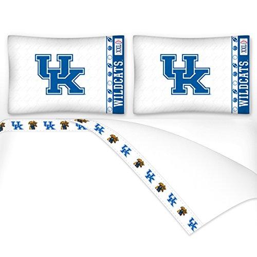 4pc NCAA Kentucky Wildcats King Bed Sheet Set College Logo Bedding Accessories (Wildcats Ncaa College Bedding)