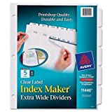 Avery - Index Maker Wide Label Punched Divider, Five-Tab, 11 1/4 x 9 1/4, Five Sets - Pack of 3