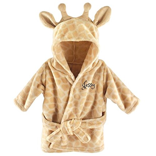- Personalized Baby Bathrobe -Custom Monogram/Name Embroidered Gift/Present/Infant/Baby Shower or Birth (Beige Giraffe)