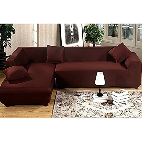 Getmorebeauty Pure Coffee Protector Sofa Loveseat Chair Couch Slipcovers (L  Shape 2+2 Seats)