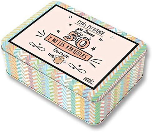Regalo Mujer 50 años. Pack Caja metálica 18x13x6 cm, Bolsa 35x40 ...