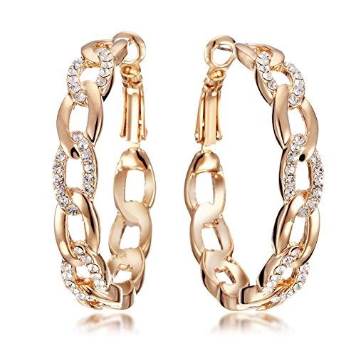 Gemini Women Jewelry 18K Gold Fill Swarovski Big Round Hoop Pierce Earring Gift Sz 4cm Rose - Crystal Fill Gold