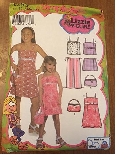 Simplicity 5083 Sewing Pattern, Child's and Girls' Dress or Top, Cropped Pants, Skort and Purse, Size K5 (7,8,10,12,14)