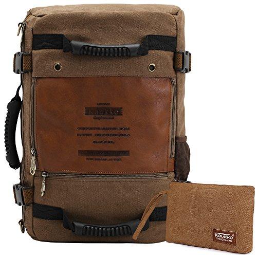 KAUKKO Vintage Beiläufige Canvas Rucksäcke 3 Wege Carry Laptop Umhängetasche für Herren Damen Wandern Outdoor Rucksack mit große Kapazität (22 Liters Khaki01)