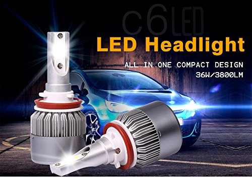 Amazon.com: 9005/HB3 H7 Headlight Bulb, LED Kit Car Lights with COB Chips 7600 Lumens 6000K Cool White Beam Bulbs IP68 Waterproof All-in-One Conversion Kit ...