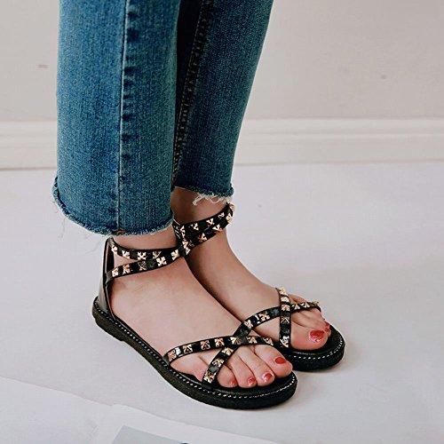 Mee Shoes Women's Chic Zip Flat Sandals Black 04CQ5x