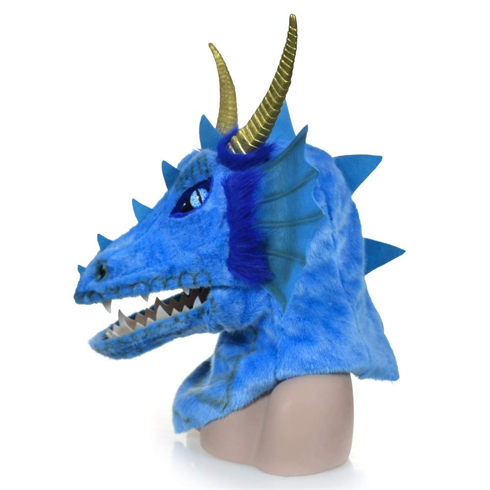 KX-QIN Halloween Carnival Animal Cosplay Party Grey Dragon Head Moving Mouth Animal mask Deluxe Novelty Halloween Costume Party Latex Animal Head Mask for Adults and Kids (Color : Blue) by KX-QIN