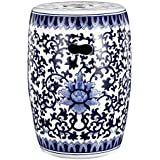 Amazoncom 18H Oriental Porcelain Garden Stool with Blue and