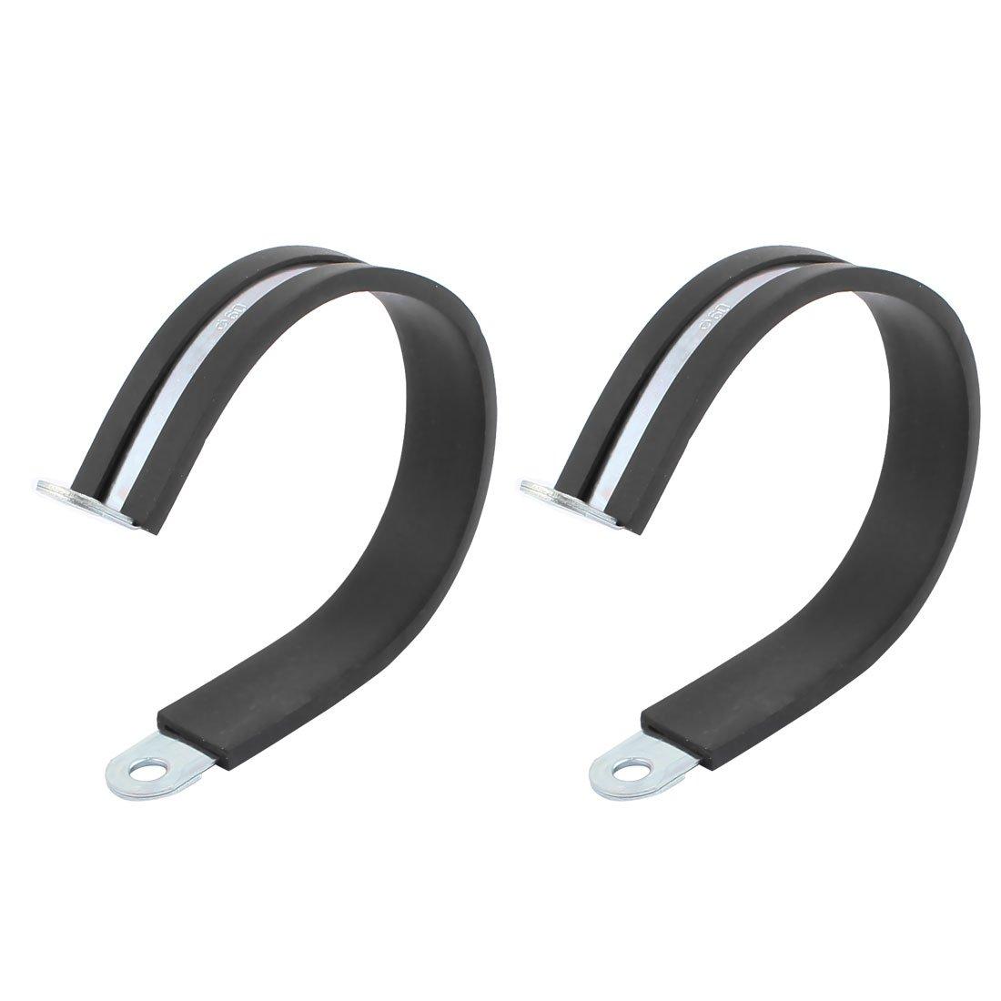 sourcingmap 2pcs 60mm de diá metro Abrazaderas del tubo de cable revestidas de goma chapado de zinc en forma de R de tubo flexible a17010900ux0616
