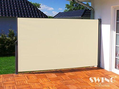 180x300cm, Creme Swing /& Harmonie Seitenmarkise Sichtschutz Aluminium Seitenrollo Markise Seitenwand Terasse Balkon