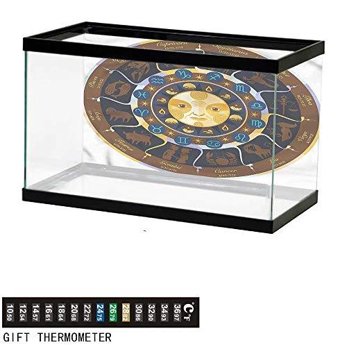 bybyhome Fish Tank Backdrop Astrology,Aries Taurus Gemini,Aquarium Background,48