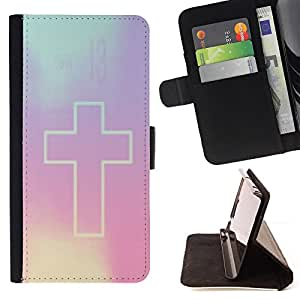 - cross Christian purple god religion - - Prima caja de la PU billetera de cuero con ranuras para tarjetas, efectivo desmontable correa para l Funny HouseFOR Sony Xperia Z1 L39