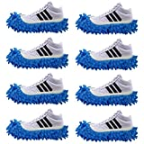 4 Pairs Slipper Shoes Cover Dust Mop Cover Lazy Floor Household Cleaning Duster Washable for Bathroom Office Kitchen Living-Room Carpet/Rug Car Polishing Wiping (Blue)