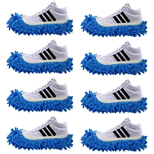 Precision Duster (4 Pairs Slipper Shoes Cover Dust Mop Cover Lazy Floor Household Cleaning Duster Washable for Bathroom Office Kitchen Living-Room Carpet/Rug Car Polishing Wiping (Blue))