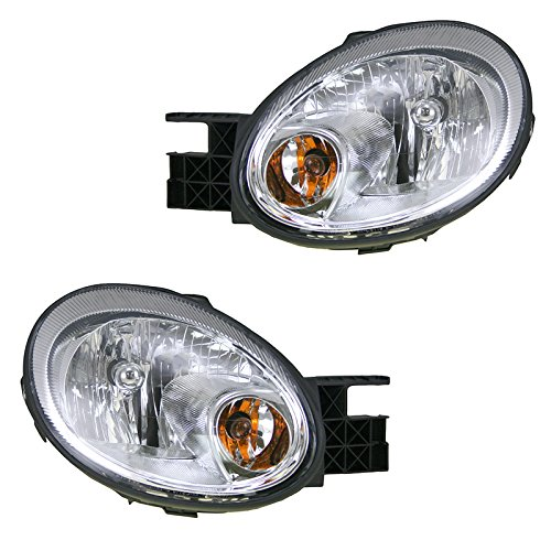 Headlights Headlamps w/Chrome Bezel Left & Right Pair Set for 03-05 Dodge Neon