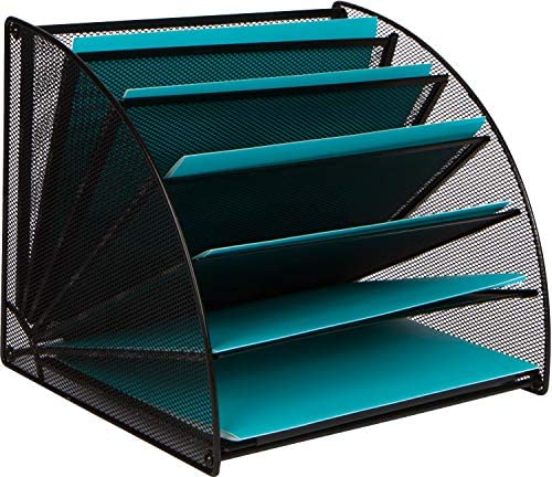 Mesh Office Organizer for Desk – Fan Shaped Desktop Organizer with 6 Compartments for Filing Paper, Bills, Letters. Desk File Organizer for Work, School, Office, Waiting Room, Classroom, and More