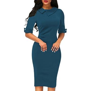 1e5ef7d4d5 Amazon.com: Kimloog Women Half Sleeve Lapel Bodycon Knee Length Office  Sundress Midi Pencil Dress with Back Zipper: Clothing
