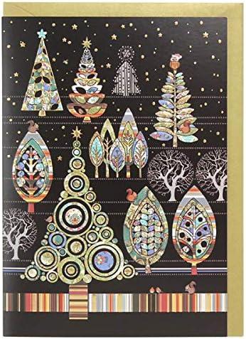 Artística tarjeta de Navidad (ba0442) – Lámina de bosque – Pack de 5 tarjetas de Navidad – en relieve y acabado: Amazon.es: Oficina y papelería
