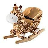 Qaba Wooden Plush Children Kids Rocking Horse Chair for Toddlers with Sound and Safety Belt Giraffe Theme
