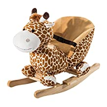 Qaba Wooden Plush Children Kids Rocking Horse Chair for Toddlers with Sound and Safety Belt, Giraffe Theme
