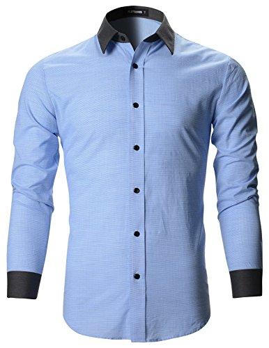 FLATSEVEN Mens Designer Slim Fit Contrast Collar Dress Shirts (SH195) Light Blue, L