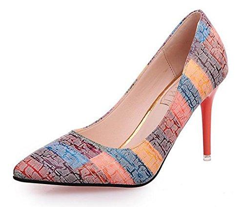 Ein bißchen 2018 Sommer Herbst Damen High Heels Pumps Bunt Mosaik PU OL Business Arbeitschuhe Orange