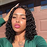 WIGNEE Curly Wigs Lace Part 100% Brazilian Human Hair 4x4 Lace Closure Middle Part Bob Glueless Wigs Natural Black with Free Gifts(12'')