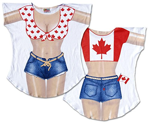 Canadian Flag Bikini Cover-Up Ladies T-Shirt Size M/L