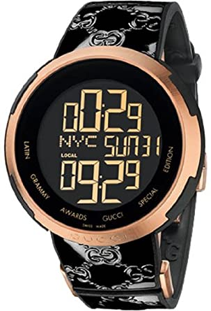 Gucci YA114102 - Reloj digital (mecanismo de cuarzo, cristal de zafiro antirreflejos), color negro y dorado rosáceo: Amazon.es: Relojes