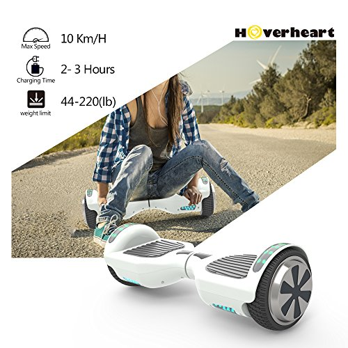 "51LD%2Bsfj5IL - Hoverboard 6.5"" UL 2272 Listed Two-Wheel Self Balancing Electric Scooter with Top LED Light And Bluetooth Speaker (Whte)"